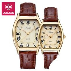 JULIUS - Couple Matching Faux Leather Strap Watch