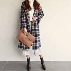 NIPONJJUYA - Notched-Lapel Double-Breasted Plaid Coat
