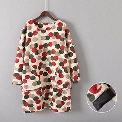 Gatz - Long-Sleeve Pocket-Accent Dotted Dress