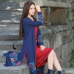 Diosa - Flower Embroidered Long Coat