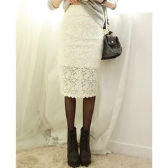 Dodostyle - Lace Pencil Midi Skirt