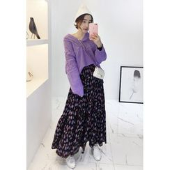 Miamasvin - Pattern A-Line Long Skirt
