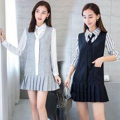 Sienne - Mock Two-piece Long-Sleeve Dress