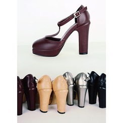 COII - T-Strap Chunky-Heel Pumps