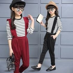 Pegasus - Kids Set: Striped Long Sleeve T-Shirt + Pleated Trim Suspender Pants