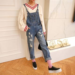 PPGIRL - Distressed Denim Suspender Pants