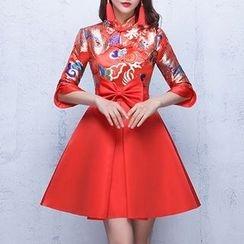 Shannair - 七分袖刺繡禮服裙