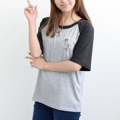 MATO - Embroidered Raglan Sleeve T-shirt