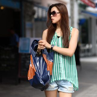 59 Seconds - Striped Chiffon Tank Top