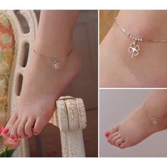 Kitty Kiss - 925 Sterling Silver Clover Anklet