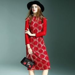 Queen Mulock - Long-Sleeve Embroidered Dress