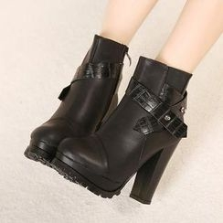 Mancienne - Belted Stiletto Ankle Boots