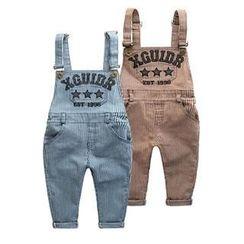 Kido - 小童细条纹吊带裤