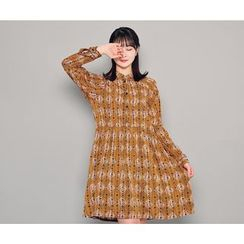 HOTPING - Mandarin-Collar Pattern Dress