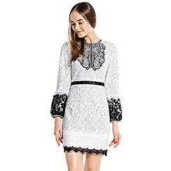 O.SA - 3/4-Sleeve Embroidered Lace-Trim Dress
