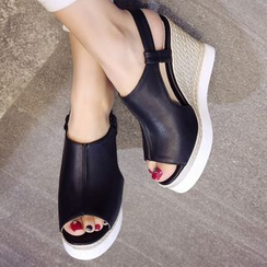 JY Shoes - Slingback Platform Wedge Sandals