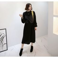 Miamasvin - Cuff-Sleeve Knit Long Dress
