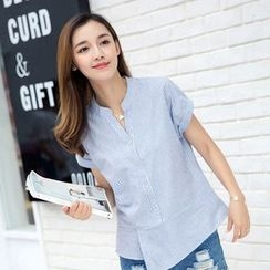 Eferu - Striped Split Neck Short Sleeve Shirt