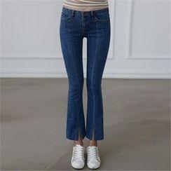 CHICFOX - Slit-Hem Boot-Cut Jeans