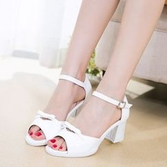 Wello - Bow Chunky Heel Sandals