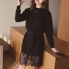 Cocofield - Lace Hem Long Sleeve Knit Dress