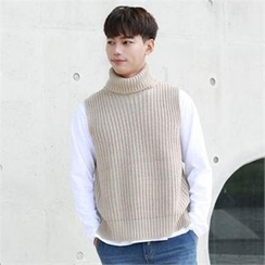 BYMONO - Turtle-Neck Sleeveless Rib-Knit Sweater