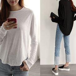 NIPONJJUYA - Dip-Back Linen Blend T-Shirt