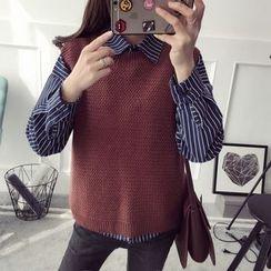 Qimi - Set: Pinstriped Long-Sleeve Shirt + Knit Vest