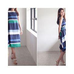 MASoeur - Sleeveless Color-Block Dress with Belt