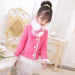 Candy Rain - Kids Lace Hem Woolen Coat