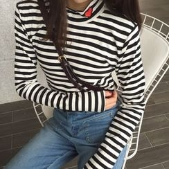 OCTALE - Mock Neck Embroidered Long-Sleeve T-Shirt
