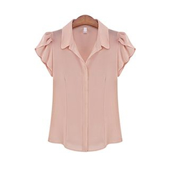LIVA GIRL - Cap-Sleeve Chiffon Blouse