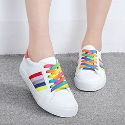 Renben - Color Striped Lace Up Sneakers