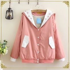 gabrielle - Embroidered Collar Snap Button Jacket