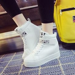 Solejoy - Jeweled High-Top Sneakers