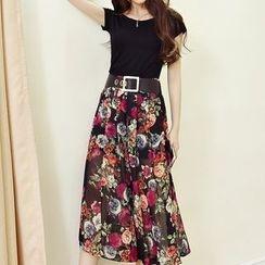Enjoi - Set: Plain Short-Sleeve T-Shirt + Floral Print Midi Skirt