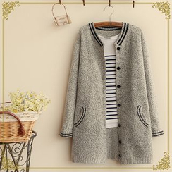 Fairyland - Contrast Trim Long Cardigan