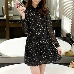 Acoustic Rain - Dotted Long Sleeve Chiffon Dress