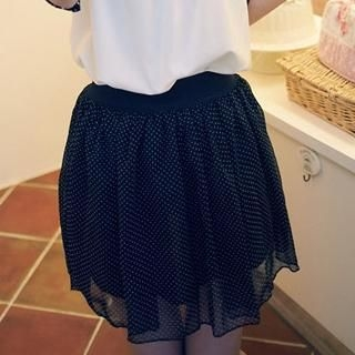 Clair Fashion - Elastic-Waist Dotted Chiffon Skirt