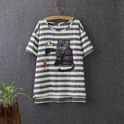 Blue Rose - Cat Stripe Linen Cotton Short-Sleeve T-shirt