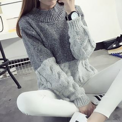 FR - High Neck Cable Knit Panel Sweater