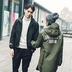 Evolu Fashion - Couple Matching Lettering Dip-Back Hooded Jacket