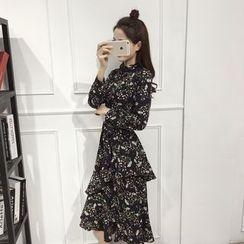 Sienne - Floral Print Long-Sleeve Chiffon Dress