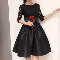 lilygirl - Tie Waist Lace Panel Dress