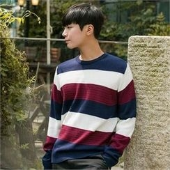 STYLEMAN - Round-Neck Color-Block Knit Top