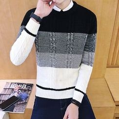 Alvicio - Color Block Cable-Knit Sweater