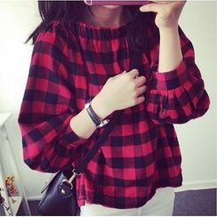 MayFair - Long-Sleeve Off Shoulder Plaid Blouse