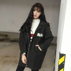 lilygirl - Lettering Oversized Hooded Jacket