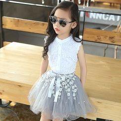 PAM - Kids Set: Sleeveless Lace Top + Mesh Skirt