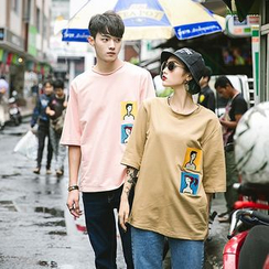 Evolu Fashion - Couple Matching Embroidered Crewneck T-Shirt